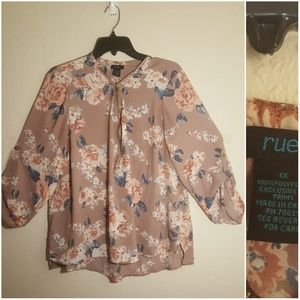 Rue 21 purple floral top with gold zipper